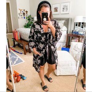 Spiritual Gangster black floral kimono robe belt